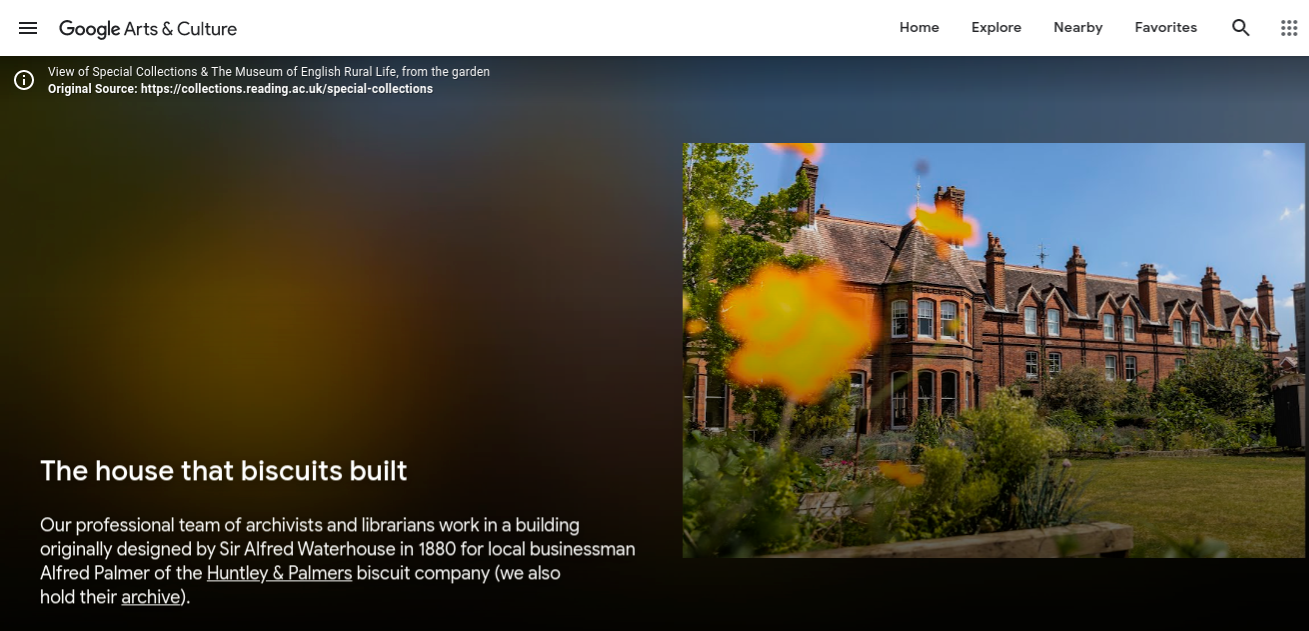 Screenshot from Google Arts & Culture, showing St Andrews building, which houses University of Reading Special Collections and The MERL
