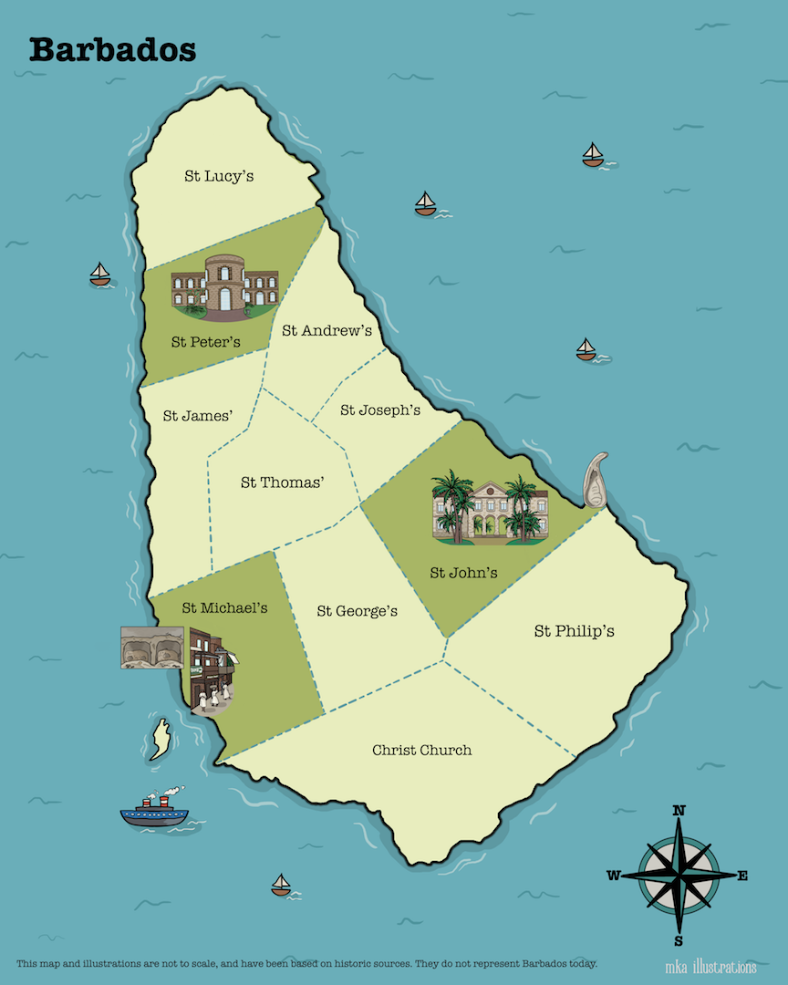 Illustrated Map of Barbados